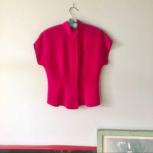 VINTAGE Hot pink silk blouse button down XS
